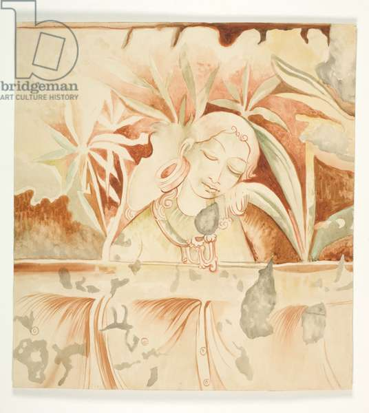 Polonnaruva (Woman among Trees), c.1935 (w/c over coloured pencil on heavy wove paper, adhered to fabric)