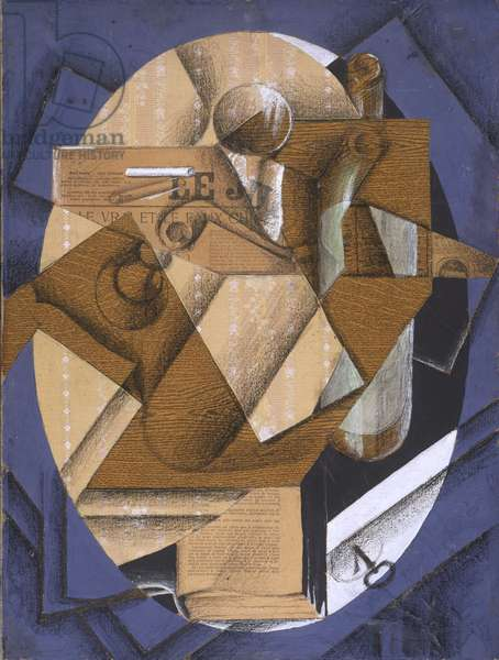 Still Life: The Table, 1914 (gouache, crayon, varnish & printed paper on canvas)