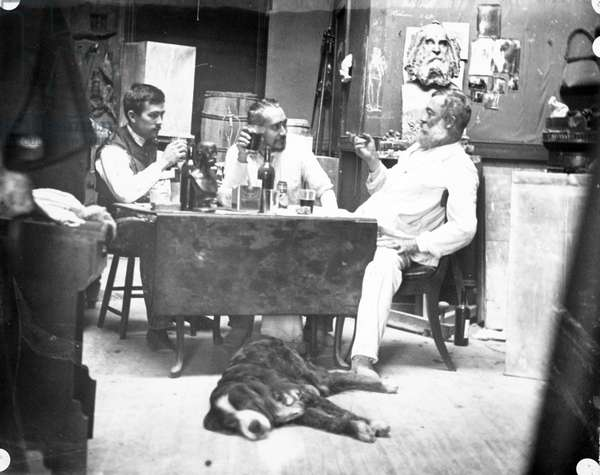 Murray, Eakins, O'Donovan, and Dog Harry, in Studio, 1330 Chestnut Street, 1891-95 (gelatin silver print)