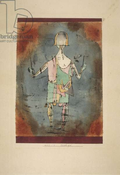 Diavolo Player, 1923 (w/c over oil transfer on tan laid paper)