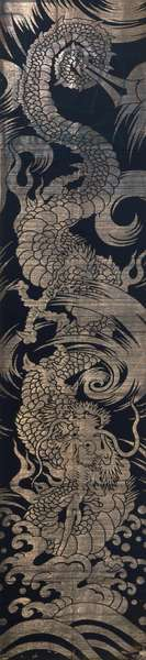 Temple banner, Edo Period (1615-1868) (silk plain weave with silvered paper weft patterning (ginran))