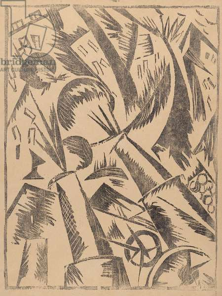 Destruction of the City, from the portfolio Voina (War), 1915-16 (linocut)