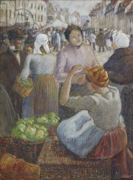 The Marketplace, Gisors, 1891 (w/c with black crayon & graphite on fabric mounted on card)