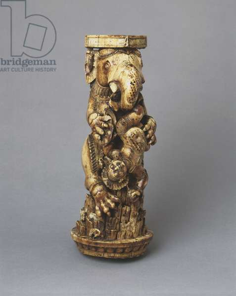 Throne leg with an elephant-headed lion (Gajasimha Vyala), c.mid 13th century (ivory)