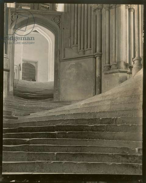 """A Sea of Steps"", Wells Cathedral, Stairs to Chapter House and Bridge to Vicar's Close, 1903 (gelatin silver print)"