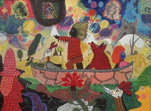 Canoe of Fate, 1974 (acrylic on canvas)