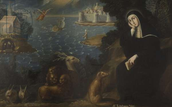 Saint Limbania the Virgin and sympathetic wild animals, 1725 (oil on canvas)