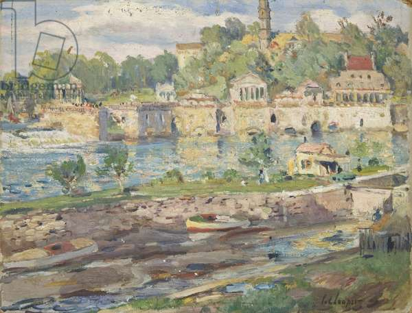 "Sketch for ""Old Waterworks, Fairmount"", c.1913 (oil on cardboard)"