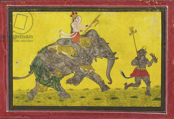 Divine Rider on a Composite Elephant Preceded by a Demon, c.1760 (opaque watercolor on paper)    88:Made in Kota, Rajasthan, India;