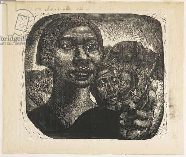 Exodus I: Black Moses (Harriet Tubman), 1951 (linocut)
