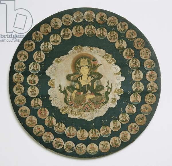 Star Mandala (gold & colours on wood)