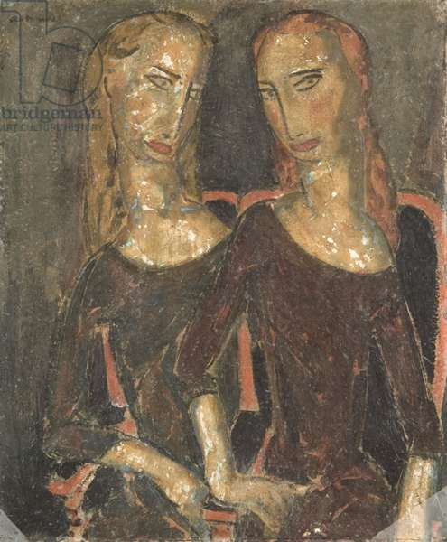 Two Figures, c.1925 (oil on composition board)
