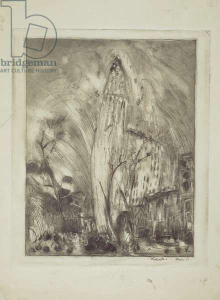 Woolworth Building, No.1, 1913 (etching with monotype inking)