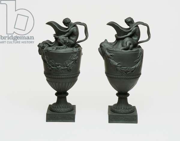 Wedgwood wine ewer and water ewer, c.1785 (stoneware)