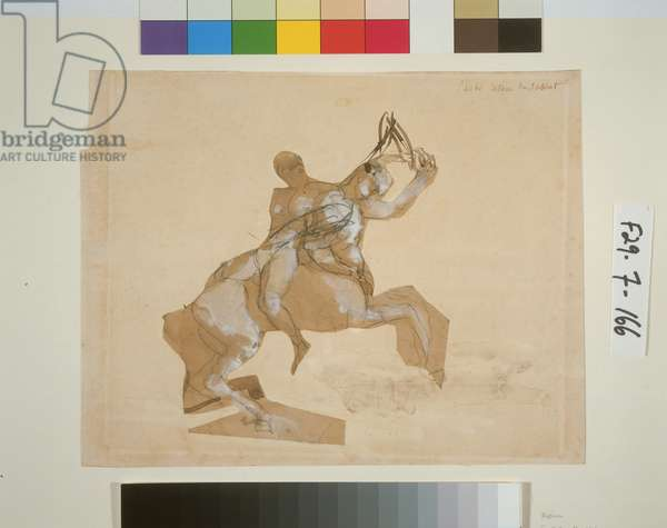 Centaur and Woman, c.1885 (pen & ink with wash, pencil and w/c on paper)