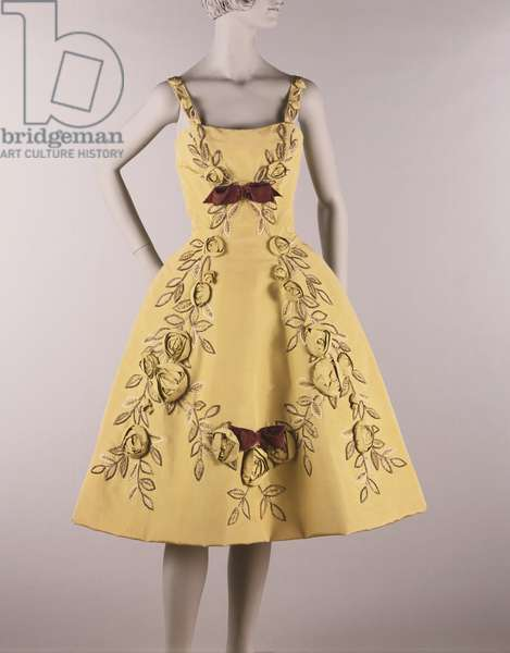 Cocktail Dress, c.1961 (silk faille trimmed with three-dimensional faille roses and bugle beads in leaf motif)