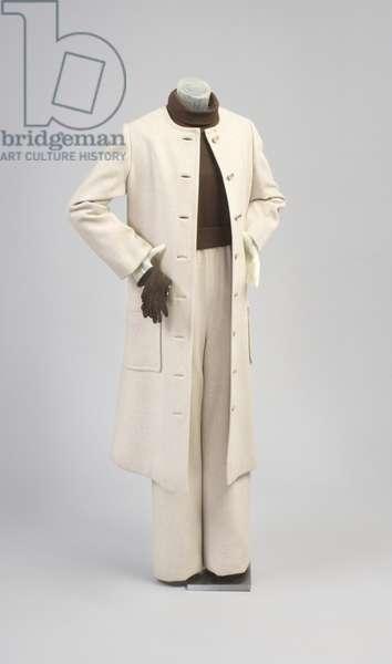 Jumpsuit and Coat, Fall 1968 (wool twill, silk knit)