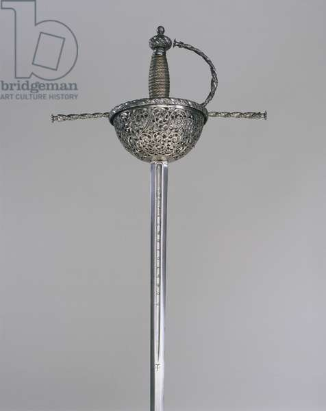 Cup-Hilted Rapier, c.1670-80 (steel, iron, wood & copper)