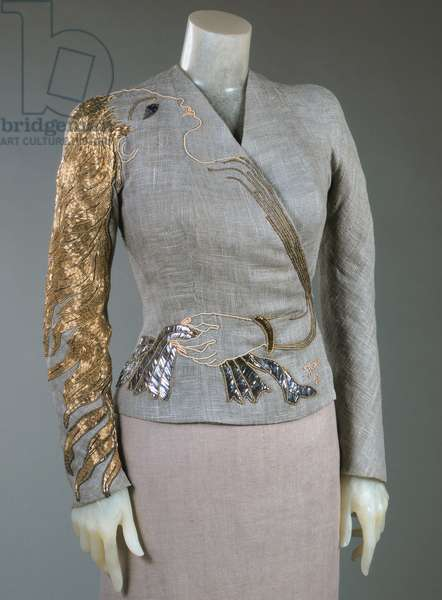Dinner Jacket, Fall 1937 (linen, gilded metallic thread embroidery, beads & paillettes)