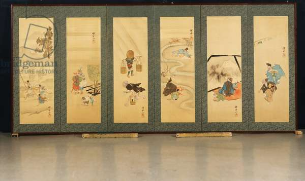 The Activities of the Twelve Months, late 19th century (ink & color on silk; mounted as a six-fold screen) (one of a pair, see 451064)