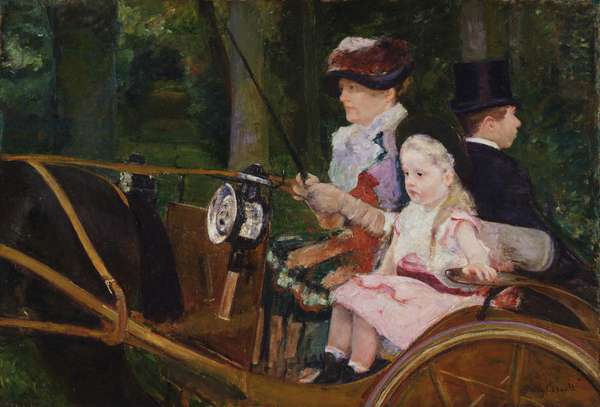 A Woman and a Girl Driving, 1881 (oil on canvas)