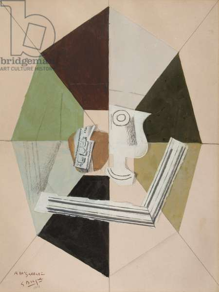 The Cup, 1917-18 (oil, graphite, charcoal, gouache & sand on cardboard)