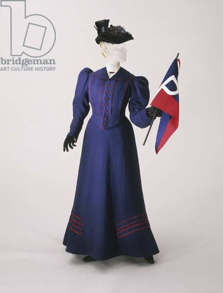 Two-piece Dress: Skirt and Bodice, 1896 (navy blue wool plain weave with bands of red silk)