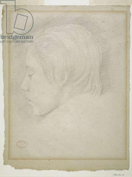 Portrait of Rene Degas, 1854-55 (graphite on beige laid paper)
