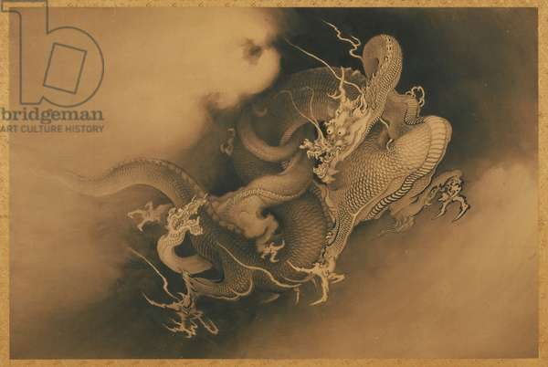 Two Dragons (in Clouds) Meiji Period, 1885 (ink on paper)