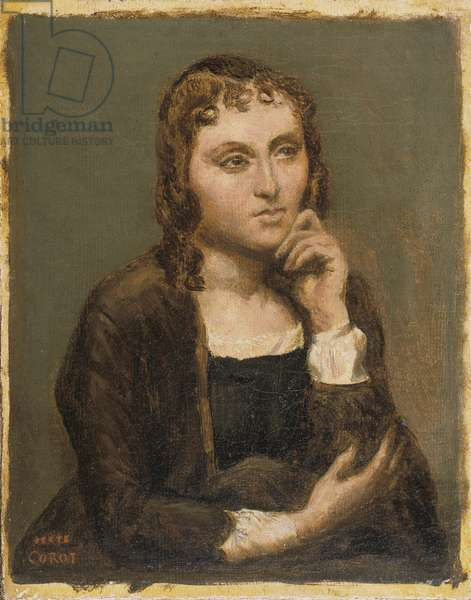 Pensive Young Brunette, c.1845-50 (oil on canvas)