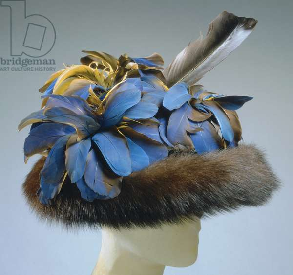 Woman's Hat, Spring 1948 (wool felt, mink, kingfisher & gull feathers)