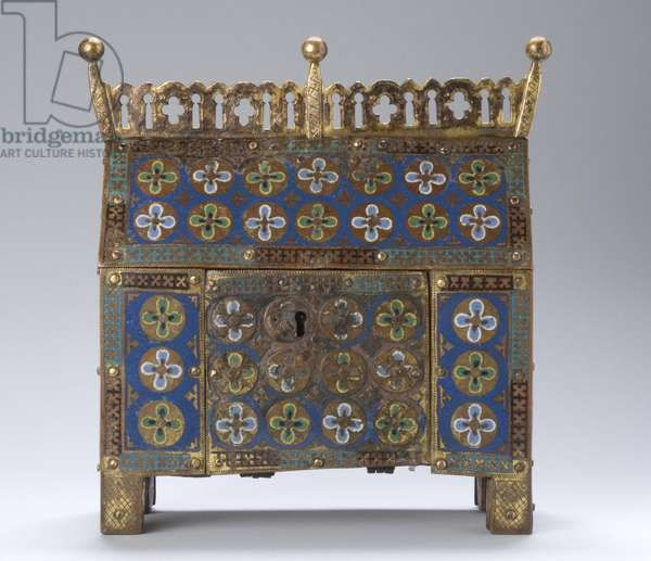 Reliquary, 1220-30 (gilded copper alloy with champlevé enamel inlay, painted wood & iron)