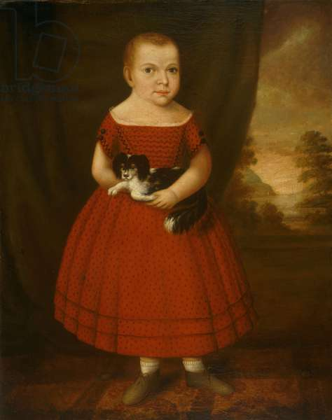 Portrait of a Child Holding a Dog (oil on canvas)