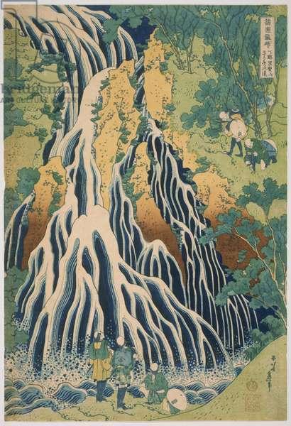 Kirifuri Waterfall on Mount Kurokami in Shimotsuke Province (Shimotsuke Kurokamiyama kirifuri notaki), from the series Waterfalls in Various Provinces (Shokoku takimeguri) Edo Period, c.1832-33 (colour woodcut)