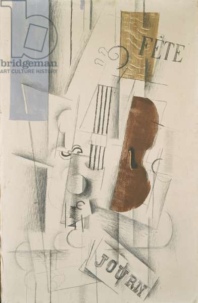 Violin and Newspaper, 1912-13 (pencil, charcoal & oil on canvas)