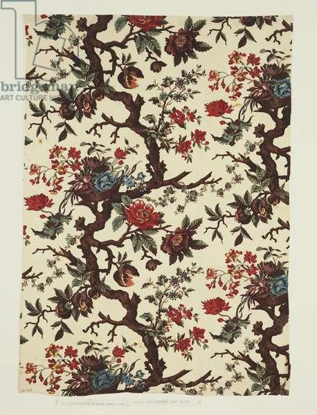 Printed Textile, made in Neuchatel, Switzerland, c.1785 (block print on cotton plain weave)