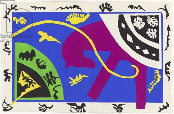 The Horse, the Equestrienne and the Clown, illustration from the portfolio 'Jazz', 1947 (colour stencil print)