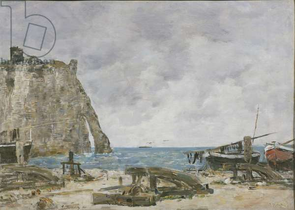 Beach at Etretat, 1890 (oil on canvas)