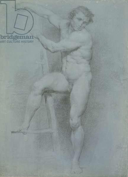 Male Nude Leaning on a Ladder, 1765 (black & white chalk on blue prepared laid paper)
