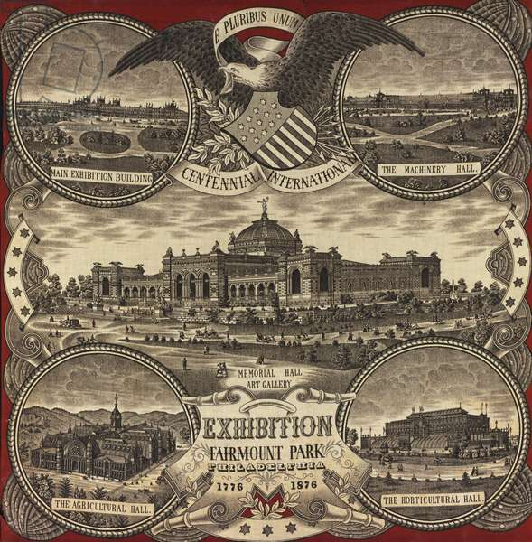 Centennial printed handkerchief, 1876 (printed cotton)