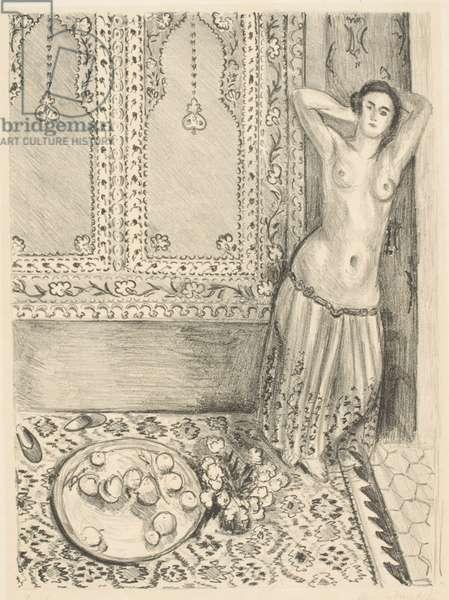 Odalisque Debout, Au Plateau de Fruits (Nude standing near a plate of fruit), 1924 (litho)