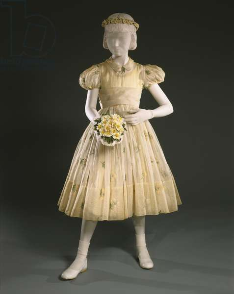 Flower Girl's Dress and Underdress, 1956 (cotton organdy with silk machine embroidery and taffeta)