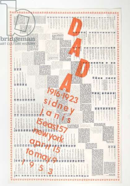"""Dada: 1916-1923,"" Sidney Janis Gallery, New York, April 15 to May 9, 1953, 1953	(letterpress exhibition catalogue)"