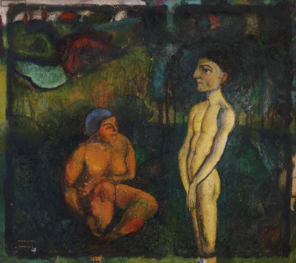 Paradise (Adam and Eve) 1910-11 (oil on canvas)