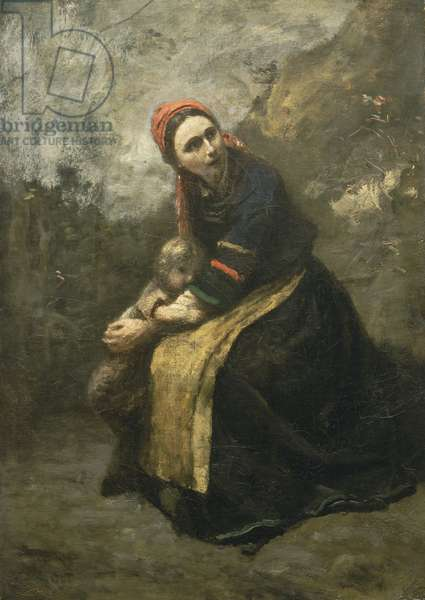 Mother Protecting her Child, 1855-58 (oil on canvas)