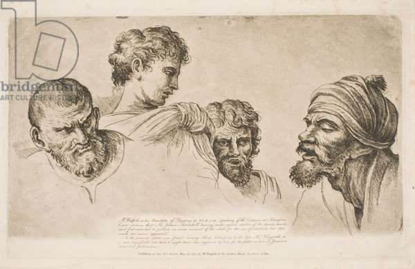 Four Heads from the Raphael Cartoons at Hampton Court, 1751 (etching)