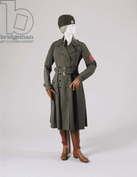 Woman's WW1 American Red Cross Motor Services Uniform: Coat, Breeches, Coat Belt, Belt and Cap with Pin, 1917 (wool & leather)