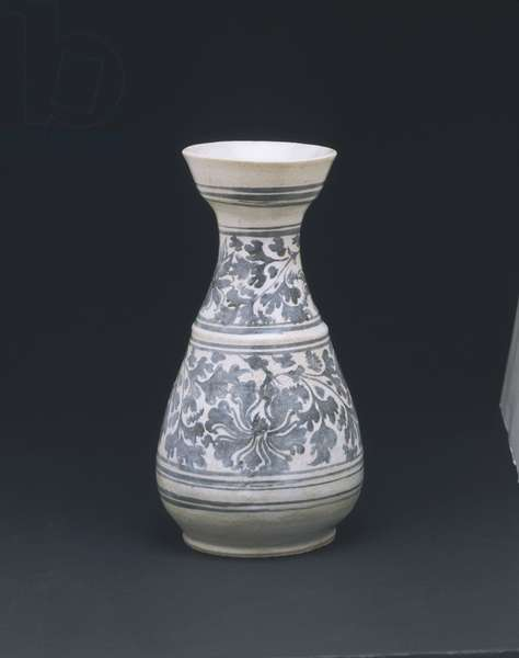 Wine Bottle (stoneware with underglaze decoration)