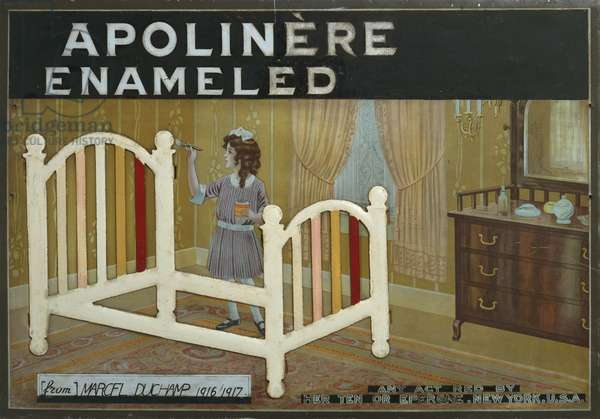 Apolinere Enameled, 1916-17 (gouache & graphite on painted tin, mounted on cardboard)