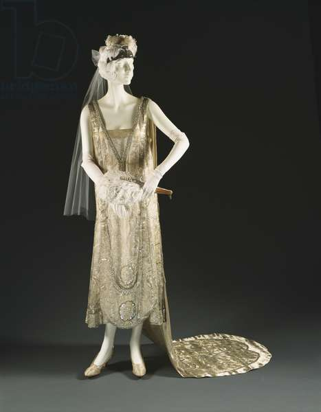 Woman's Court Presentation Ensemble, c.1928 (silk & lame with net, sequins, rhinestones & ostrich feathers)